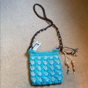 Turquoise woven Cruise Club Purse with beading